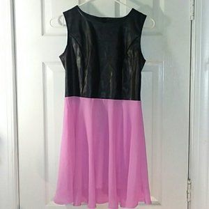 Zeagoo Faux Leather and Pink Dress Size Small